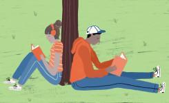 Lezende tieners (stad Aalst / Utopia)